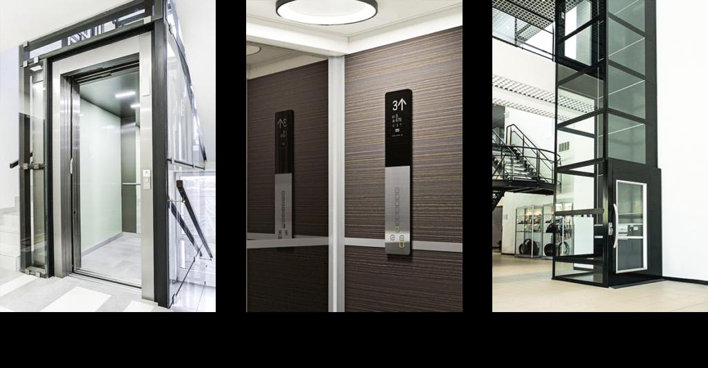 Ukázka výtahů pro rodinný dům, kanceláře nebo hotel a panoramatický výtah.